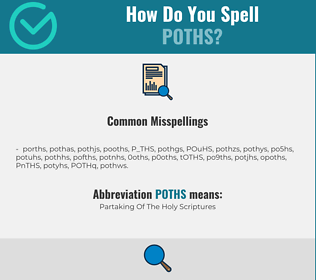 Correct spelling for POTHS