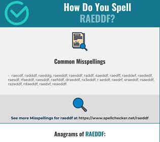 Correct spelling for RAEDDF