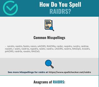 Correct spelling for RAIDRS