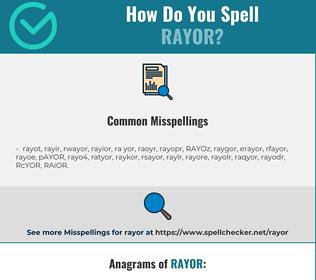 Correct spelling for RAYOR
