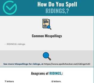 Correct spelling for RIDINGS,