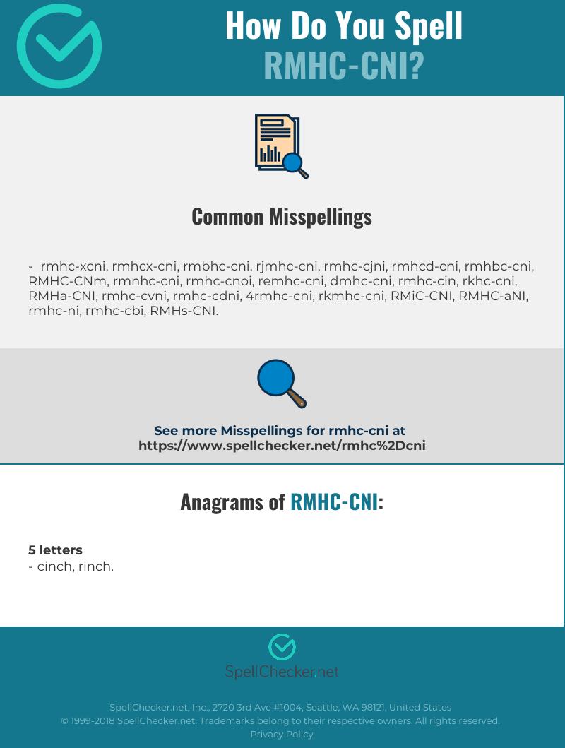 Correct spelling for RMHC-CNI [Infographic] | Spellchecker net