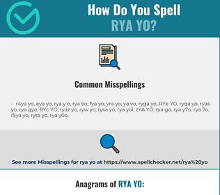 Correct spelling for RYA YO