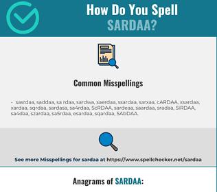 Correct spelling for SARDAA