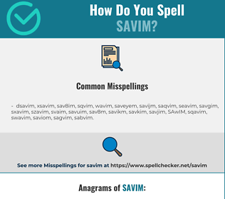 Correct spelling for SAVIM