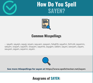 Correct spelling for SAYEN