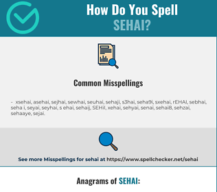 Correct spelling for SEHAI