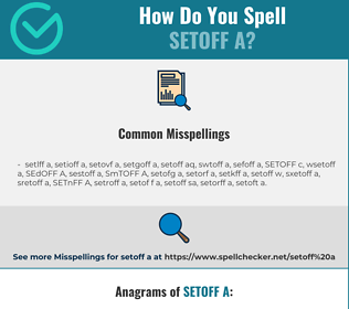Correct spelling for SETOFF A