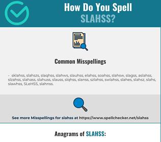 Correct spelling for SLAHSS