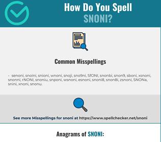 Correct spelling for SNONI