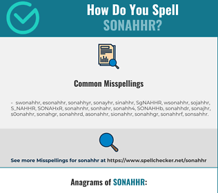 Correct spelling for SONAHHR