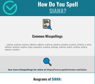Correct spelling for Siaha