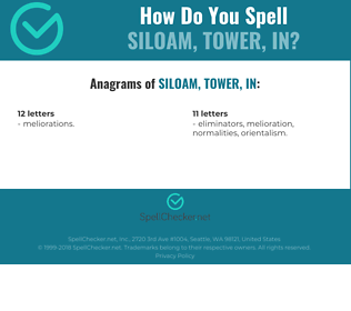 Correct spelling for Siloam, Tower, in