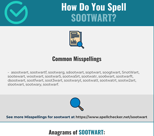 Correct spelling for SootWart