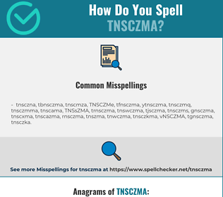 Correct spelling for TNSCZMA