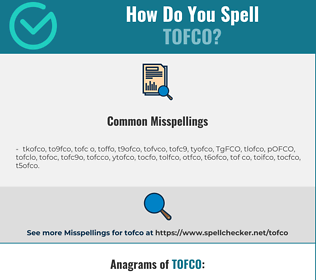 Correct spelling for TOFCO
