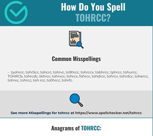 Correct spelling for TOHRCC