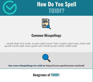 Correct spelling for TOIDF