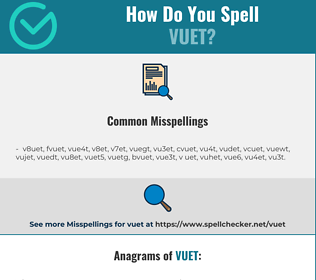 Correct spelling for VUET