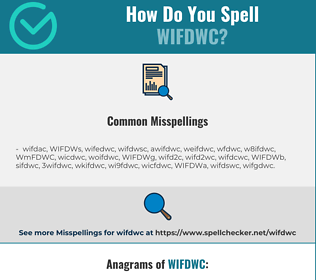 Correct spelling for WIFDWC