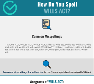 Correct spelling for WILLS ACT