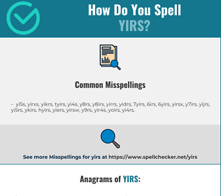 Correct spelling for YIRS