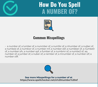 Correct spelling for a number of