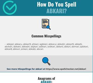 Correct spelling for abkari