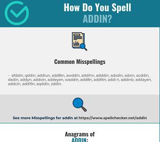 Correct spelling for addin