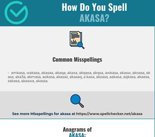 Correct spelling for akasa