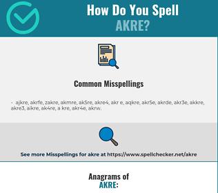 Correct spelling for akre