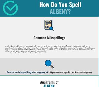Correct spelling for algeny