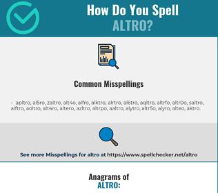 Correct spelling for altro