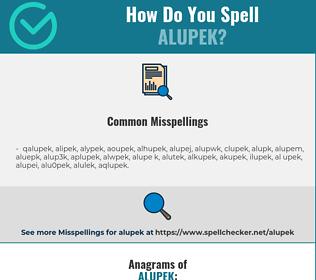 Correct spelling for alupek