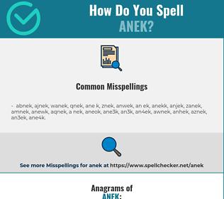 Correct spelling for anek