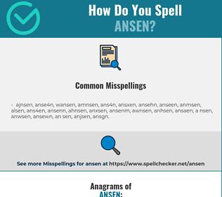 Correct spelling for ansen