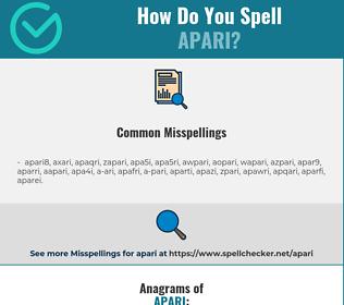 Correct spelling for apari