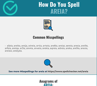 Correct spelling for areia