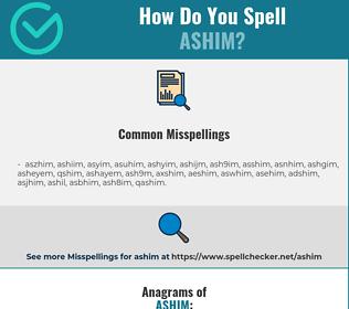 Correct spelling for ashim