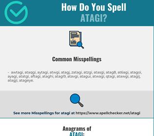 Correct spelling for atagi