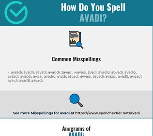 Correct spelling for avadi