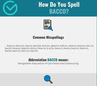 Correct spelling for bacco