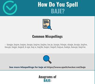 Correct spelling for baje