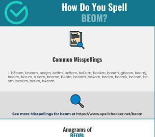 Correct spelling for beom