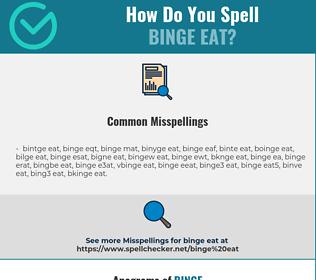 Correct spelling for binge eat