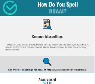 Correct spelling for braai