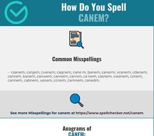 Correct spelling for canem