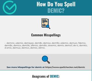 Correct spelling for demic