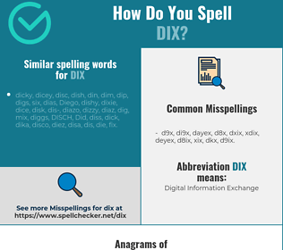 Correct spelling for dix
