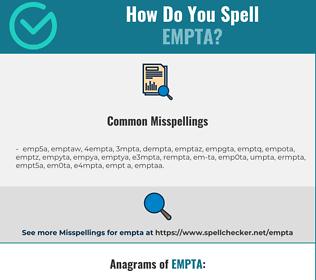 Correct spelling for empta